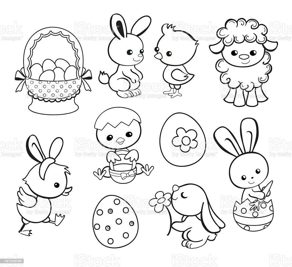 happy easter holiday illustration cartoon characters coloring page vector illustration stock. Black Bedroom Furniture Sets. Home Design Ideas