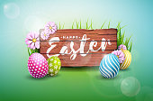 Happy Easter Holiday Illustration with Painted Egg and Flower on Green Nature Background. Vector International Celebration Design with Cloud Sky and Typography for Greeting Card, Party Invitation or Promo Banner