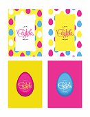 Happy Easter Holiday. Funny greeting multicolored cards in 80-90s style. Vector design elements.