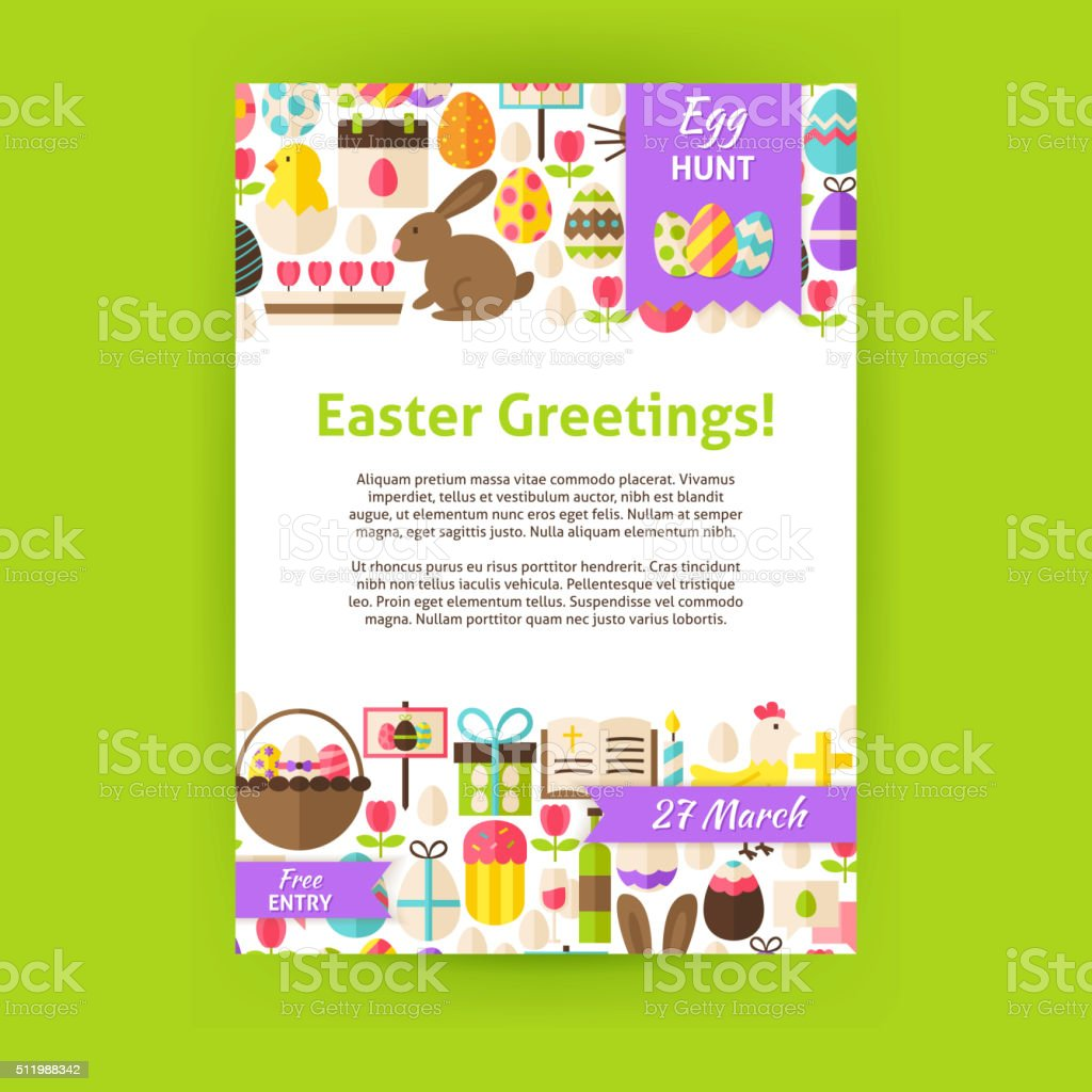 Happy Easter Holiday Vector Invitation Template Poster vector art illustration