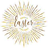 Vector Illustration of a Quote Happy Easter Holiday With Doodle Golden Rays