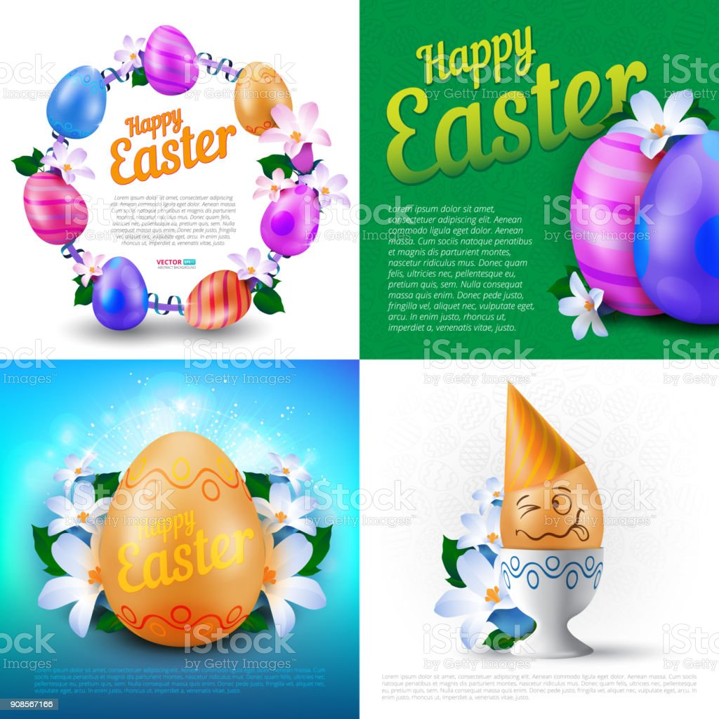Happy Easter Holidays Vector Set Of Greeting Cards Posters Or