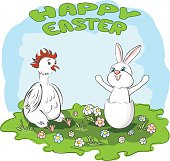 Happy Easter. Humorous card. Vector illustration
