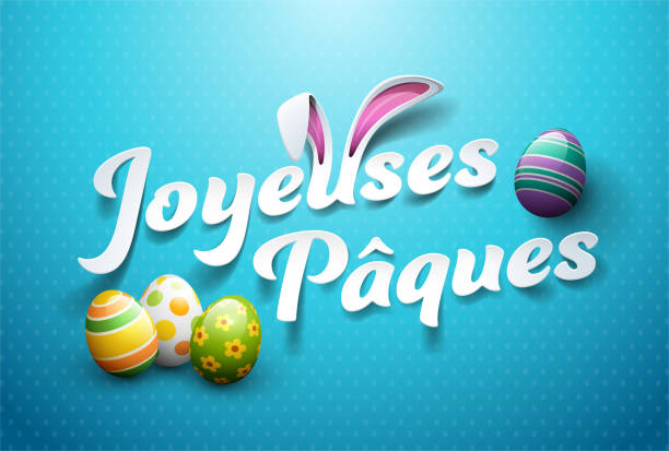 happy easter in french : joyeuses pâques - cheerful stock illustrations