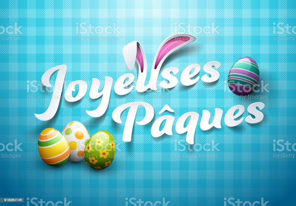 Happy Easter in French : Joyeuses Pâques vector art illustration