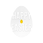 Happy Easter in Paper Cut style effect with small yellow egg in center. Vector illustration for greeting cards, flyers, posters. All isolated and layered