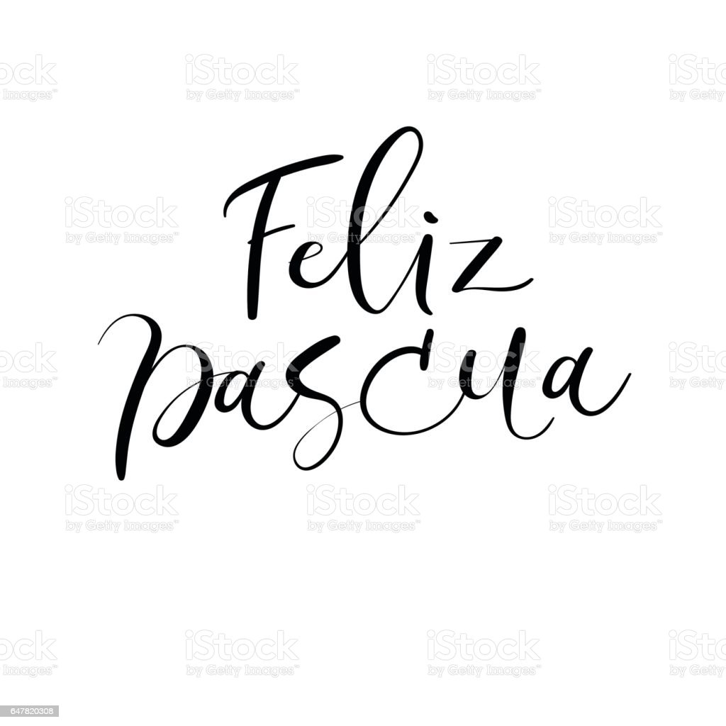 Happy Easter In Spanish Modern Calligraphy Greeting Card Brush