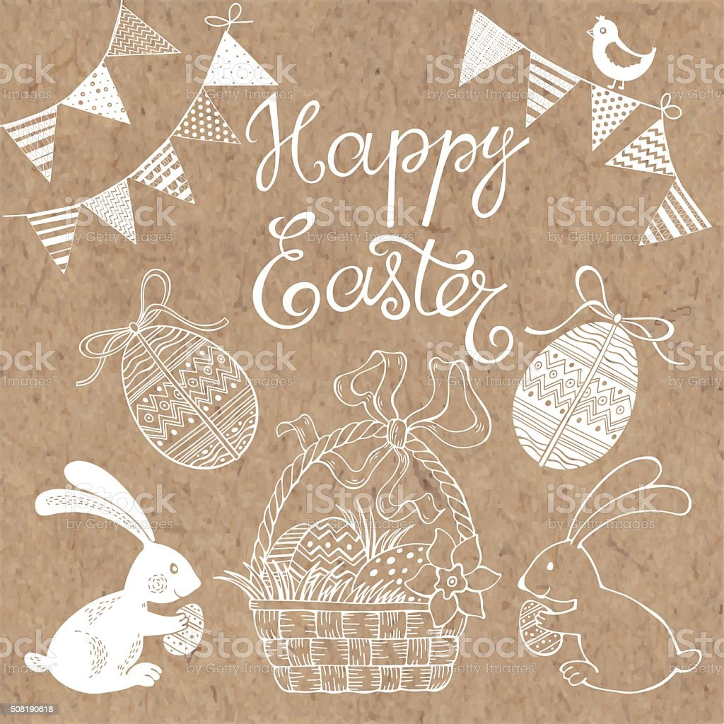 Happy Easter.  Isolated design elements for invitations, greeting cards, flyers. vector art illustration