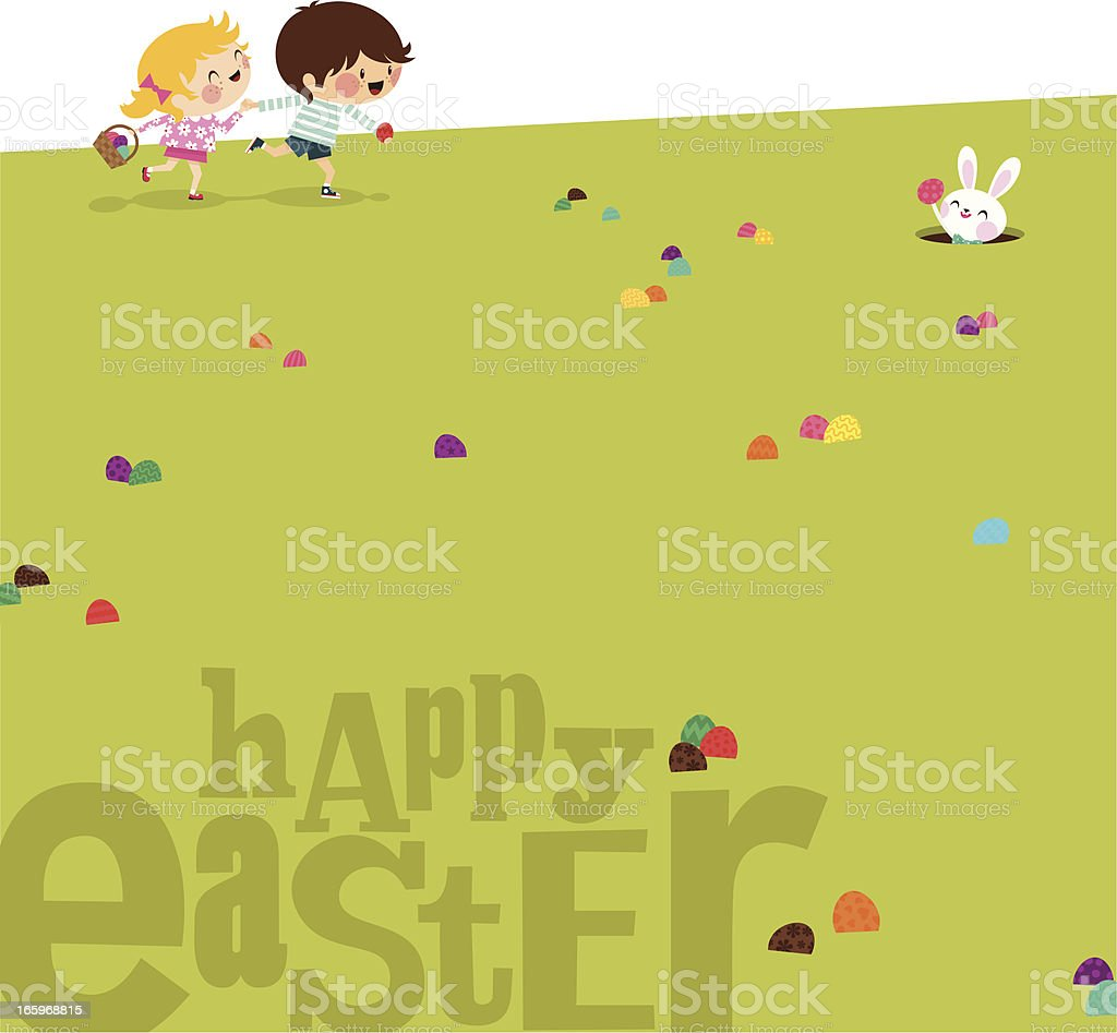 Happy easter Kids bunny eggs grass illustration vector myillo royalty-free stock vector art