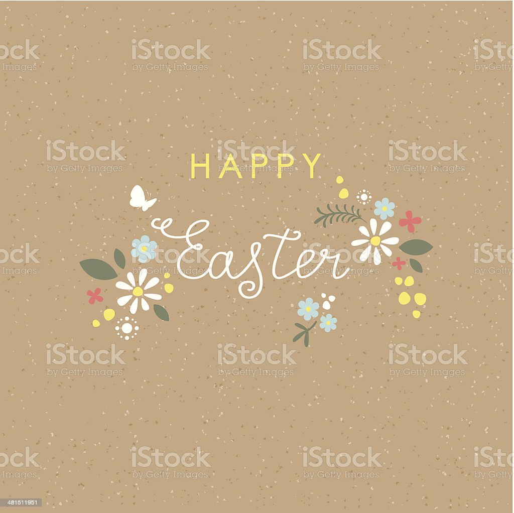 Happy Easter lettering floral brown paper card vector art illustration