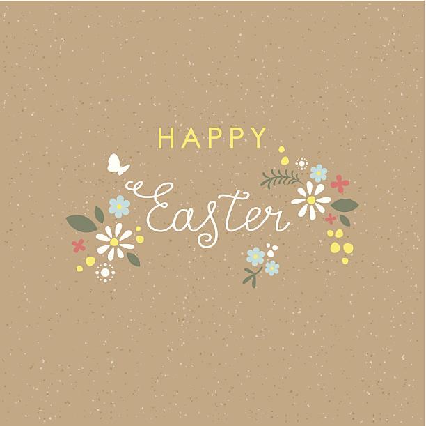 Happy Easter lettering floral brown paper card vector art illustration