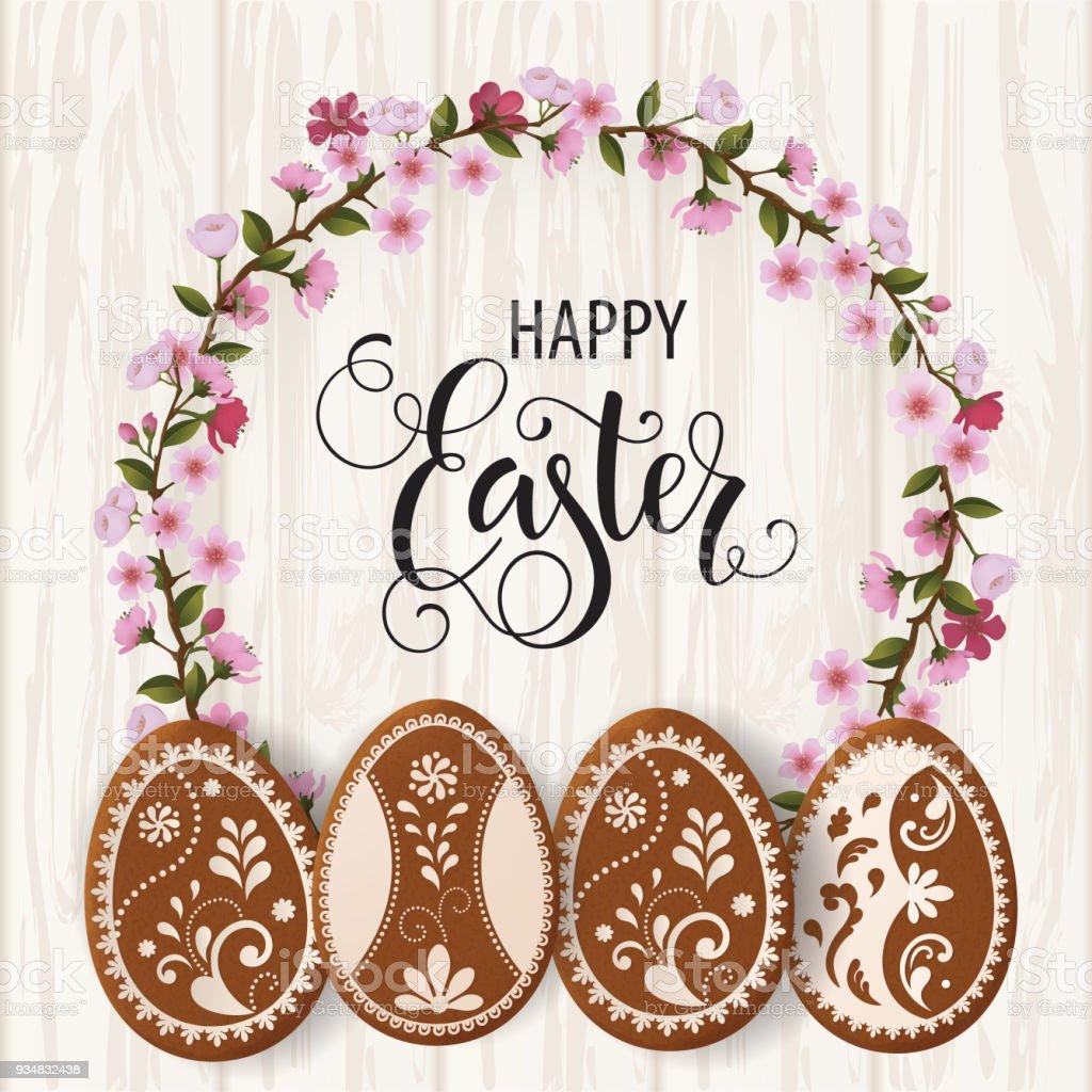 행복 한 부활절 레터링, 계란의 형태로 진저. 봄 휴일, 부활절 배경입니다. 벡터 그림 EPS10입니다. - 로열티 프리 4월 벡터 아트
