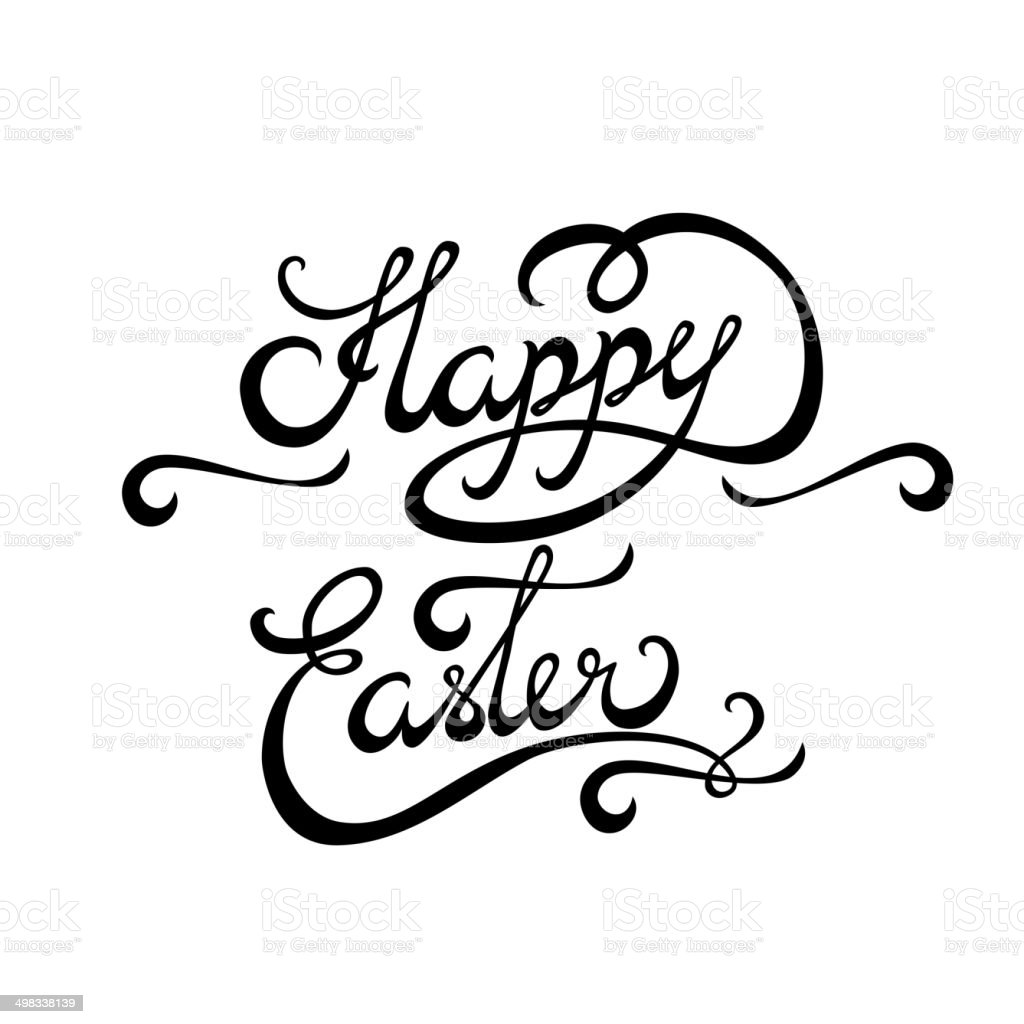 Happy easter lettering handmade calligraphy stock vector