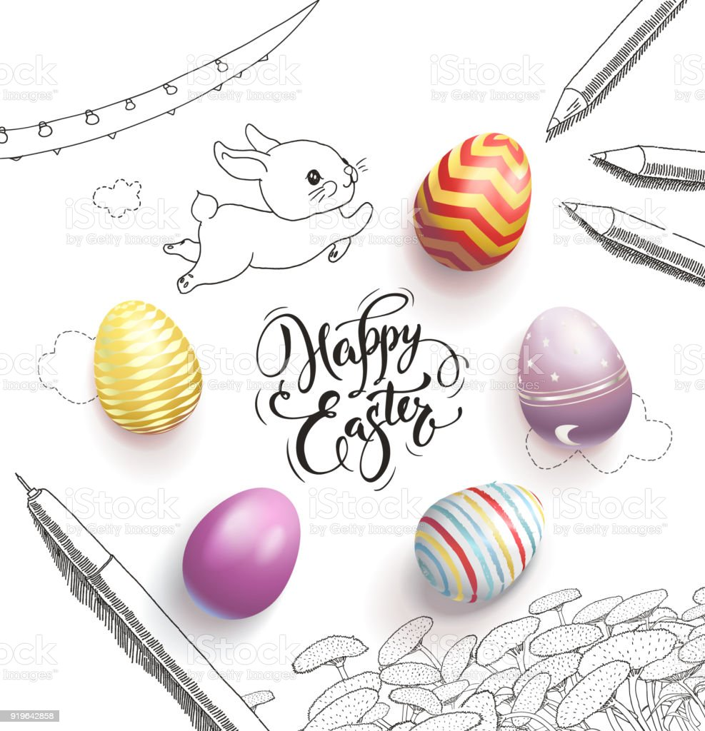 Happy Easter lettering handwritten with calligraphic font, surrounded by colorful eggs, cute baby bunny, dandelions, clouds, pen, pencils, garland hand drawn with contour lines. Vector illustration. vector art illustration
