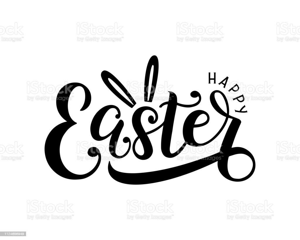 Heureux logo lettrage de Pâques décoré par les oreilles de lapin. - Illustration vectorielle