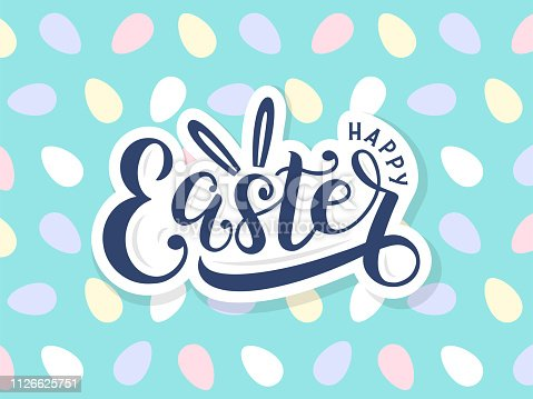 Template for easter cards, postcards, invitations, badges, stickers, prints. Vector eps 10