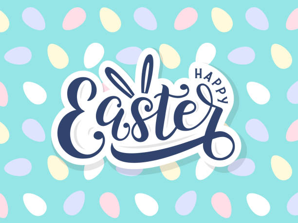 Happy easter lettering logo on seamless easter eggs background. Template for easter cards, postcards, invitations, badges, stickers, prints. Vector eps 10 easter stock illustrations