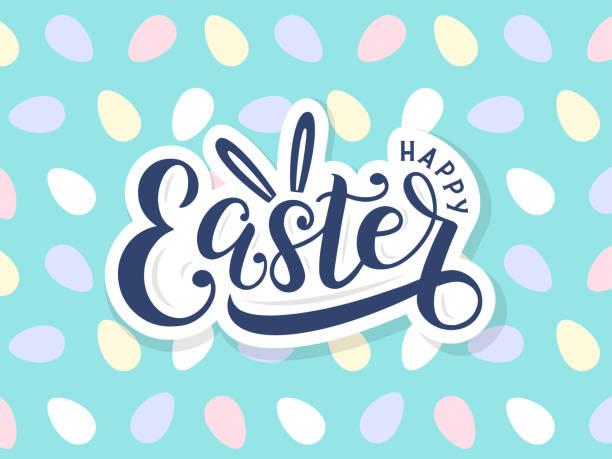 illustrazioni stock, clip art, cartoni animati e icone di tendenza di happy easter lettering logo on seamless easter eggs background. - pasqua