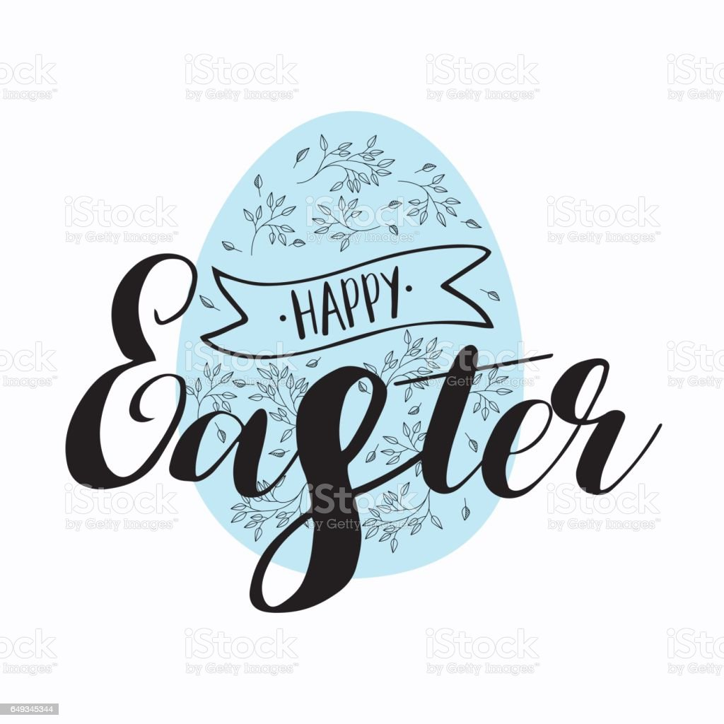 Happy easter lettering modern calligraphy style stock