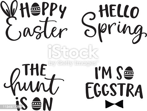 Happy Easter lettering set. Black hand lettered quotes with eggs for greeting cards, gift tags, labels, T-shirts. Typography collection. Spring and Easter egg hunt concept. Isolated vectors.