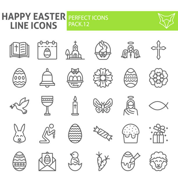 Happy easter line icon set, spring holiday symbols collection, vector sketches, logo illustrations, christian celebration signs linear pictograms package isolated on white background. Happy easter line icon set, spring holiday symbols collection, vector sketches, logo illustrations, christian celebration signs linear pictograms package isolated on white background, eps 10. religious symbol stock illustrations