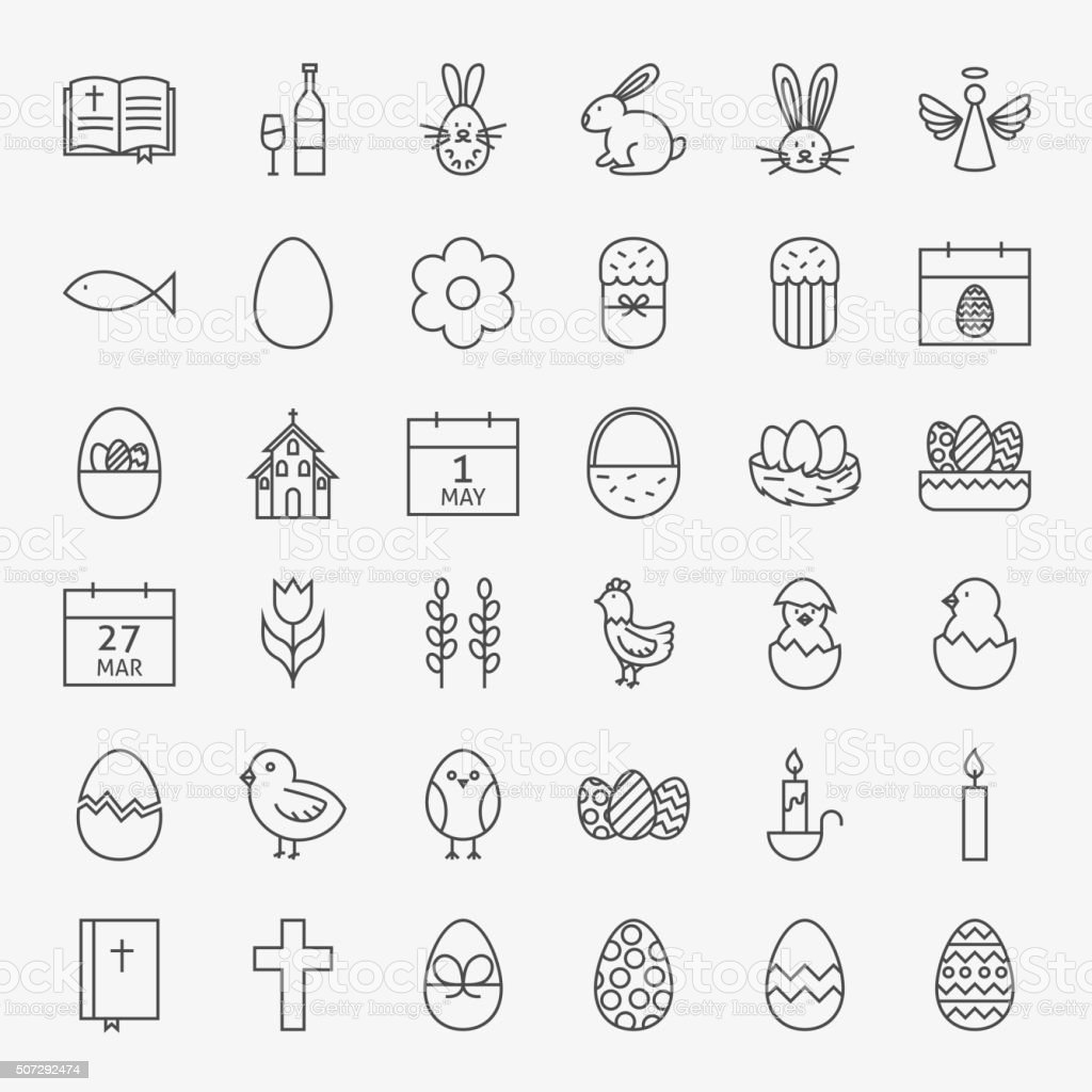 Happy Easter Line Icons Big Set vector art illustration