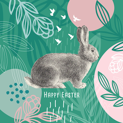 Happy Easter Message Easter Bunny On Floral Pattern