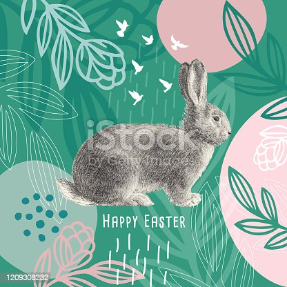 Happy Easter Message Easter Bunny On Floral Pattern. An original artwork vector illustration with typography. This inspirational design can be a postcard, web banner, shop window, invitation, poster or flyer.