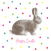 Happy Easter Message Easter Rabbit. An original artwork vector illustration with typography. This inspirational design can be a postcard, web banner, shop window, invitation, poster or flyer.