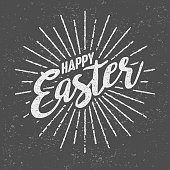 An aged retro vintage sunburst/starburst icon with decorative Happy Easter text. The lines are grungy and weathered to look older. The grunge background is on its own layer so it's easy to remove.