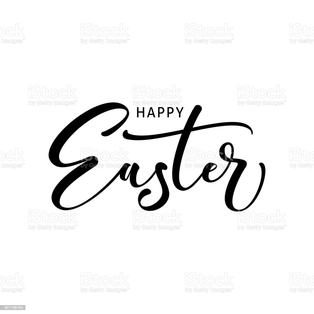 Happy easter modern brush calligraphy ink illustration
