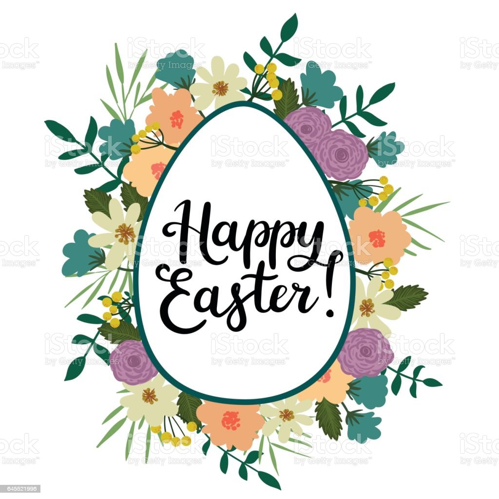 Happy easter modern calligraphy style greeting card hand