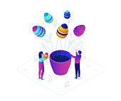 Happy Easter - modern colorful isometric vector illustration on white background. Bright unusual composition with male, female characters, decorated eggs growing in a flower pot, linear elements