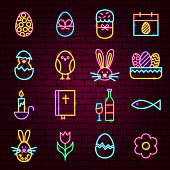 Happy Easter Neon Icons. Vector Illustration of Holiday Greeting Promotion.