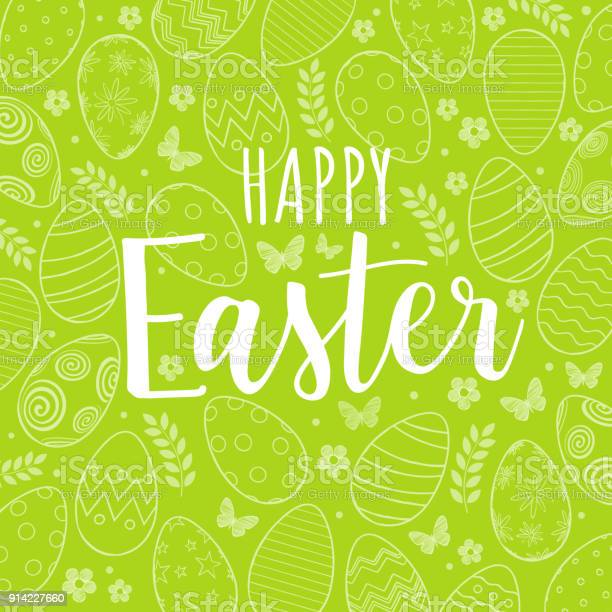 Happy easter on green background with pattern of easter eggs flowers vector id914227660?b=1&k=6&m=914227660&s=612x612&h=yewl5lphsjgjmywsubl08echuki8i4dxbnhlwobsgu8=