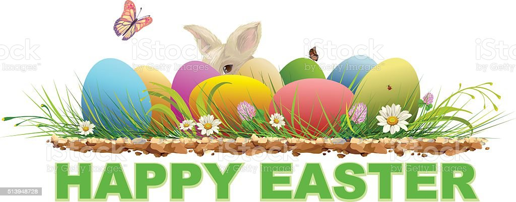 Happy Easter Painted Eggs And Rabbit On Green Grass Royalty Free Stock Vector Art