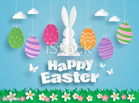 istock Happy Easter paper art with Easter eggs and rabbit, greeting card. Paper cut style. Vector illustration 1306434860