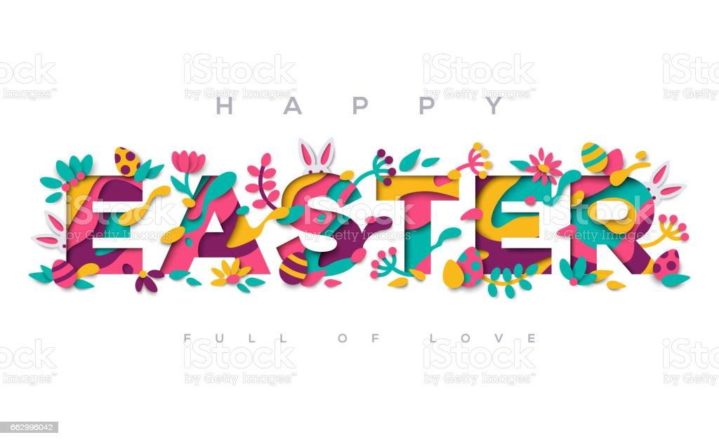 Happy Easter paper cut typography design vector art illustration