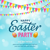 An invitation to the Easter party with bunting, eggs and calligraphy on the blue background