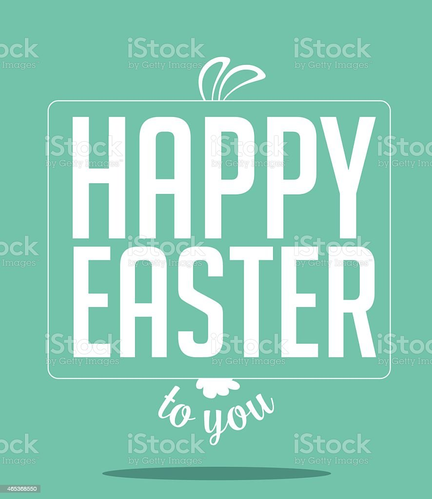Happy Easter peeking bunny ears and text vector art illustration