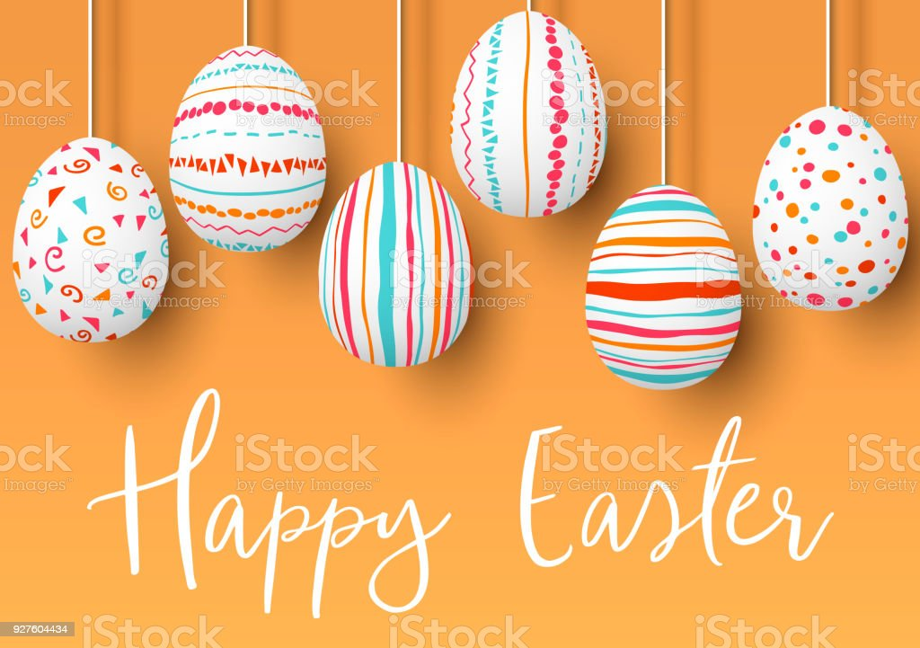 Happy Easter. pending easter eggs on golden background. Easter colorful hanging eggs with simple pink, orange, red, blue stripes vector art illustration