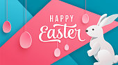 Happy easter poster background. Holiday greeting in paper cut 3d origami style with geometric elements, bunny, eggs. Vector illustration. Place for your celebration text.