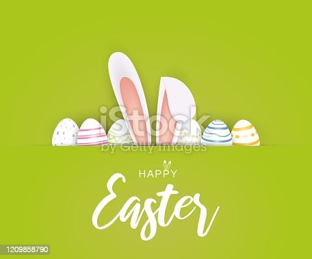 Happy Easter poster or card with eggs and bunny ears. Green background. Vector illustration. EPS10