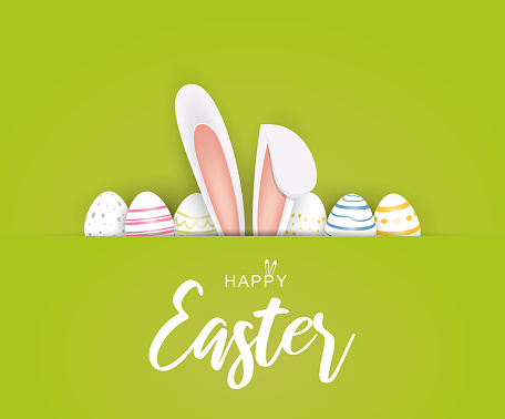 Happy Easter poster or card with eggs and bunny ears. Vector