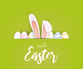 istock Happy Easter poster or card with eggs and bunny ears. Vector 1209858790