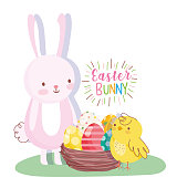 happy easter rabbit and chicken with basket eggs decoration vector illustration