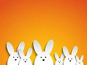 Vector - Happy Easter Rabbit Bunny on Orange Background