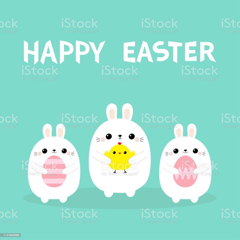Mutlu Paskalya Tavsan Tutan Tavuk Kusu Yumurta Seti Boyama Bunny