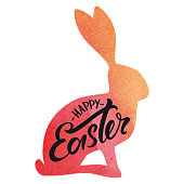 Vector hand drawn Happy Easter inscription and vectorized watercolor bunny in the background.