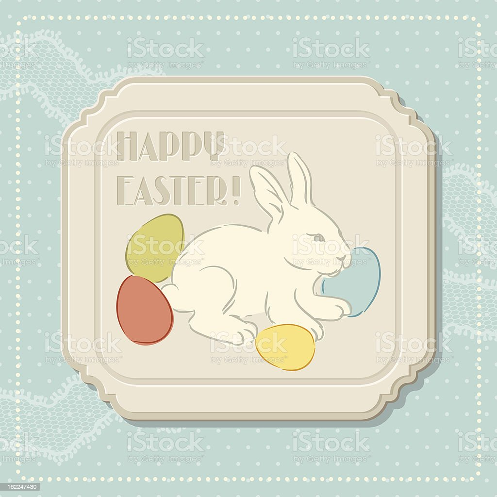 Happy Easter retro greeting card. royalty-free stock vector art